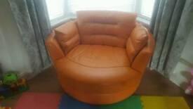 Orange Leather Round Cuddle Chair