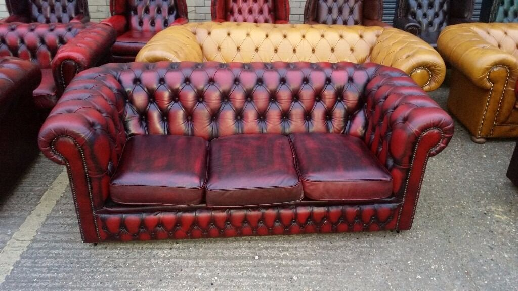 1 X Three Seater Oxblood Red Chesterfield Sofa Two Sofas Available