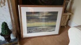 large watercolour painting, signed by artist in gallery mount and frame