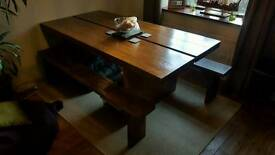 Large Mango wood dining table and benches