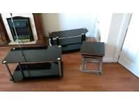Matching black glass furniture