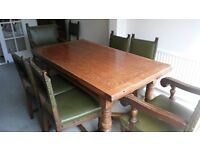 Antique Oak Refectory Farm House Extending Dining Table+8 Chairs