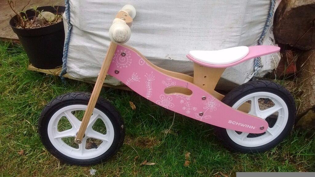 Girls Pink Wooden Schwinn Balance Bike In Alsager Staffordshire
