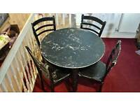 Round Black 4 Seater Dining Table