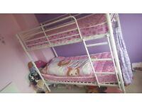 White bunk bed frame