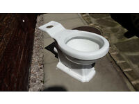 Ceramic toilet pan, white. (Drop on cistern type)