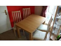 Beech Effect Extending Dining Table & 4 Faux Leather Cream Chairs
