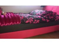 Pink leather diamonte single bed