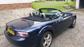 Mazda MX5, Dark Blue, Convertible(soft top). Manual. Full Leather interior, Petrol. 1798cc.Reg 08.