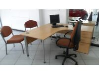 used office desk with drawers and seating. 4 Sets available