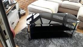 Black glass TV corner unit
