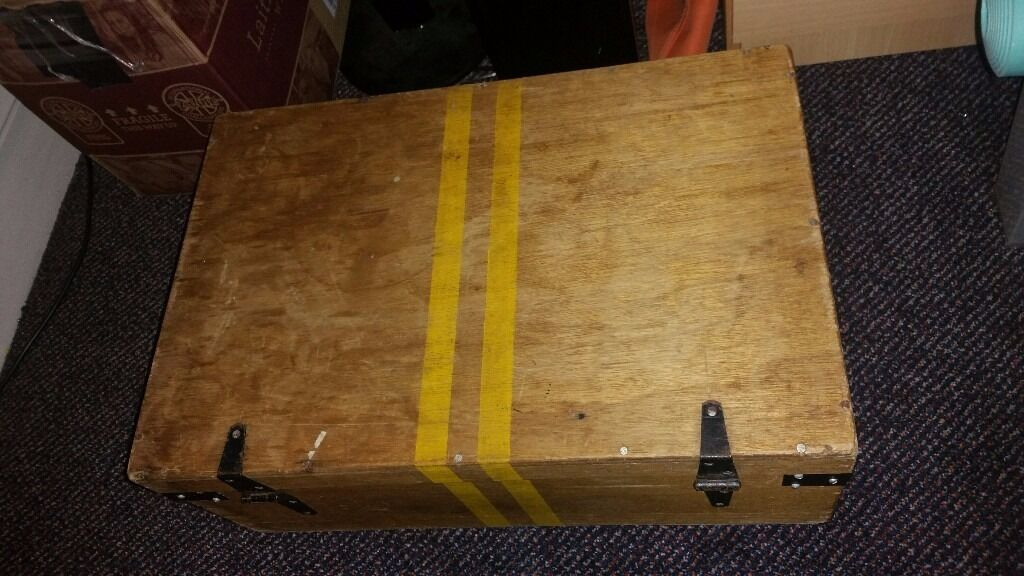 Naval Post Military Storage Box, Wooden With Lid Bed Tool Chest Toy Trunk