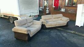 3+2 seater sofa in fawn chordory fabric and brown leather £285 delivered