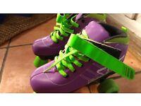 Roller skates boots purple 4 wheel size 2 Bexleyheath