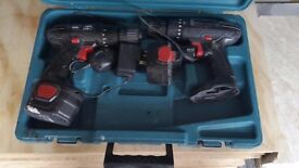 two drills 12v, two batteries, charger and makita box, spin 600