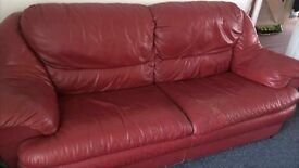 Wine red leather 3 seater sofa