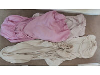 Cot sheets x 4 off - fitted sheets 2 beige 1 pink and 1 light pink