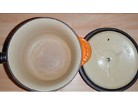 Le Creuset pots pans Volcanic orange cast iron