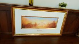 framed tyne bridge painting by terry donnelly