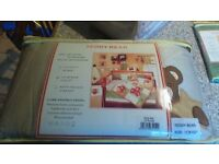 Teddy Bear Cot Quilt, 36 x 44 , cot bumper pad and nappy stacker, all new