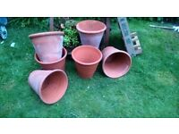 vintage terracotta pots x 6 for summer planting or display