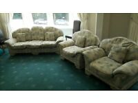 Three Seat Sofa and 2 Armchairs in Excellent Condition