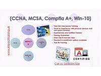 CCNA (R&S), MCSA (Widows Server 2012), Windows-10 Training