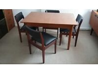 Vintage Scandinavian Dining Table & 4 Chairs