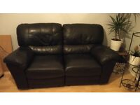 Chilton Medium 2 Seater Leather Recliner Sofa, Black