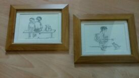 Pencil drawings sketched pictures in pine frames pair of