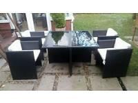 Rattan Cube (Gloss Black), 4 Chairs & Cushions (Cream).