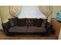 LEATHER/FABRIC 4 SEATER SOFA WITH CUDDLE CHAIR AND FOOT STOOL