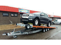 FLAT BED CAR TRANSPORTER TIPPING TRAILER. 3 AXLE 3500KG GVW