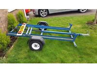 Motorbike trailer with new wheels and tyres + 3 spare ones