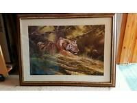 Tiger picture framed antique - previously bought for £300