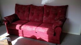 2 and 3 seater sofas with matching footstool