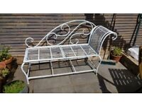 White metal garden chaise lounge / bench - Hackney