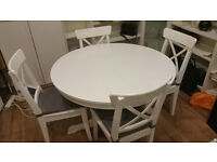 IKEA Ingatorp extendable dining table with four Ingold chairs (inc. seat cushions)