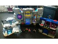 Fisher Price Imaginext Batman Cave, Gotham City Jail and Mr Freeze playsets