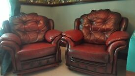 Pair of vintage leather oxblood chairs chesterfield club style retro red 1970's 1980's chair