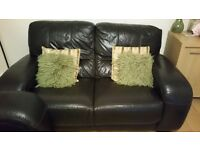 1 x 3 seater full leather chocolate brown sofa and 1 x 2 seater full leather sofa