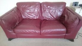 2 seater sofa and 1 seater leather from DFS