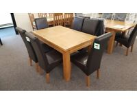 Astoria Extending Oak Dining Table & 6 Cuba Brown Faux Leather Dining Chairs Can Deliver
