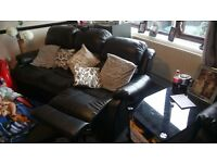 2+3 seater black leather recliner sofa