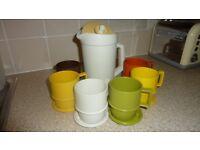 Vintage Tupperware Harvest Jug, Coasters/Lids & Beakers x 6