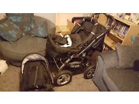 beautiful buggy and car seat and carry cot all in 1 just to big for my wife to use