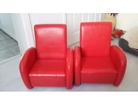 Toddler arm chairs red leather very good condition