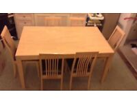 Solid wood Dinning Table and 6 chairs