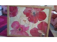 Large flower print in frame