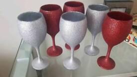 Glitter glasses silver red x 6